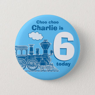 Blue train birthday name and age button / badge