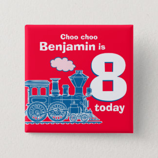 Blue train birthday name and age red badge