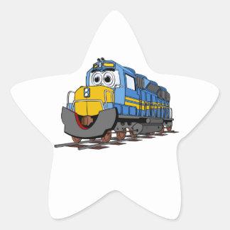 Blue Train Engine Cartoon Star Sticker
