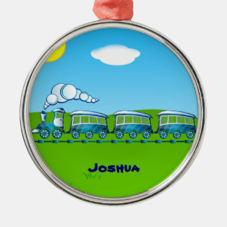 Blue Train template Christmas Ornament