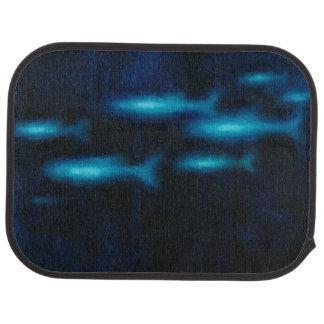 Blue Translucent Fish Silhouettes Car Mat