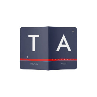 blue travel passport cover with name & initials