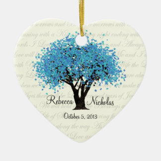Blue Tree Dancing Blooms Wedding Photo Christmas Ornament
