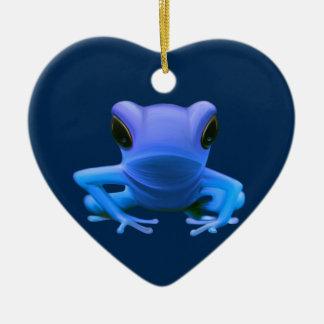 Blue Tree Frog Ceramic Heart Decoration