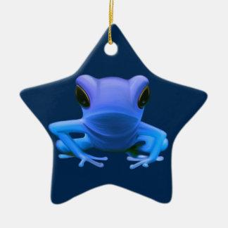 Blue Tree Frog Ceramic Star Decoration