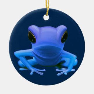 Blue Tree Frog Round Ceramic Decoration
