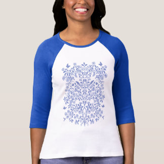 Blue Tree of Life Ladies Raglan Jersey T-Shirt