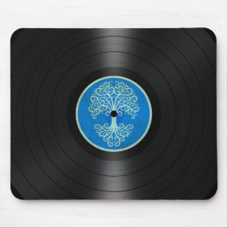 Blue Tree of Life Vinyl Record Album Graphic Mouse Pad