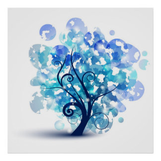 Blue Tree Poster