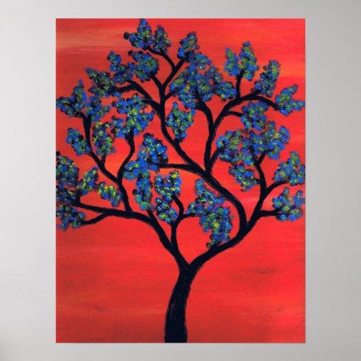 Blue Tree Poster