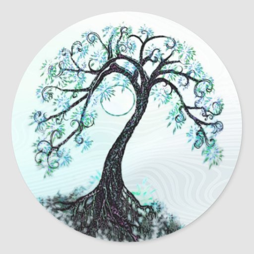 Blue Tree Save the Date Stickers