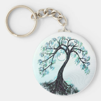 Blue Tree Save the Date Stickers Key Ring
