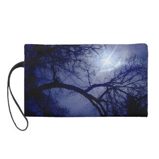 Blue Tree Silhouette with Sun Wristlet Clutch