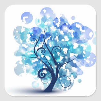 Blue Tree Square Sticker