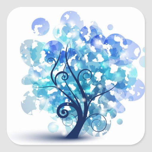 Blue Tree Square Stickers