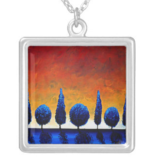 Blue Trees and Sunset Art Pendant Necklace