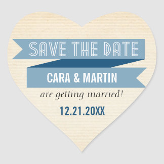Blue Trendy Banner Save the Date Heart Sticker
