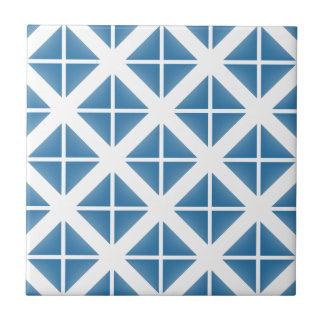 Blue Trendy Triangle Pattern Small Square Tile