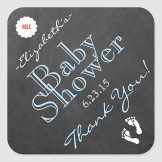 Blue Tri-Angled Chalkboard Look- Baby Shower Square Sticker