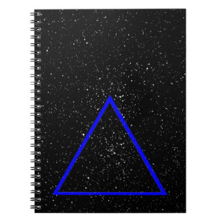 Blue triangle outline on black star background notebooks