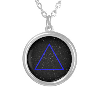 Blue triangle outline on black star background silver plated necklace