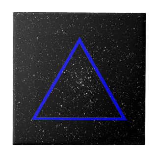 Blue triangle outline on black star background tile