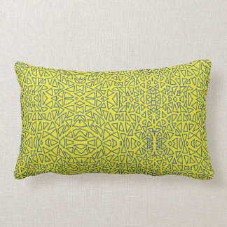 blue triangle shapes and yellow background lumbar pillow