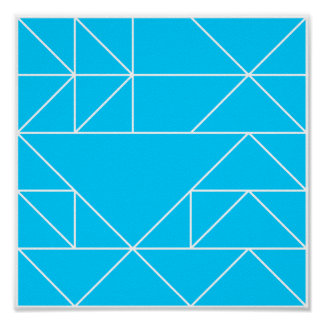 Blue Triangles Pattern Square Print