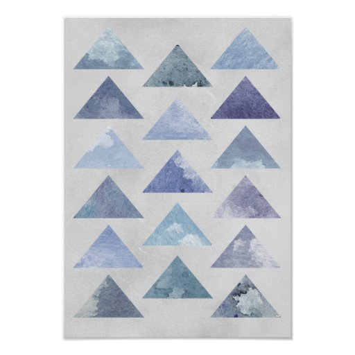 Blue Triangles Poster