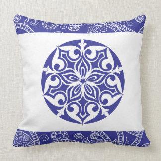 BLUE TRIBAL CIRCLE Retro Throw Pillow Cushion