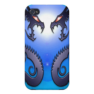 Blue Tribal Dragons Cases For iPhone 4