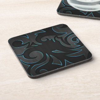 Blue Tribal Glow Wood Drink Coasters