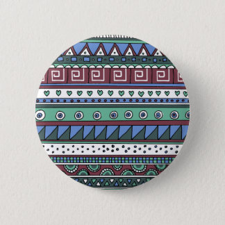 Blue tribal pattern 6 cm round badge