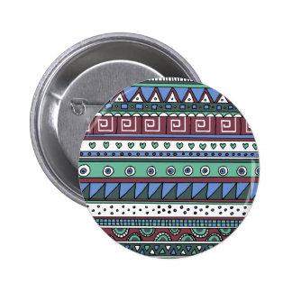 Blue tribal pattern 6 cm round badge