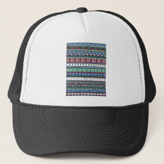 Blue tribal pattern trucker hat