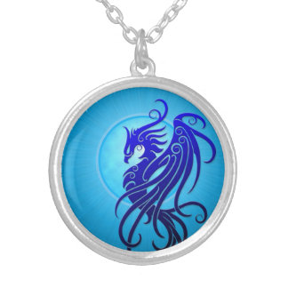 Blue Tribal Phoenix Silver Plated Necklace