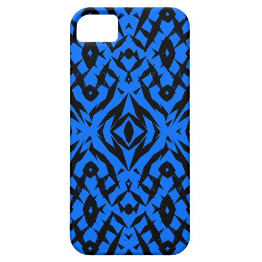 Blue tribal shapes pattern iPhone 5 case