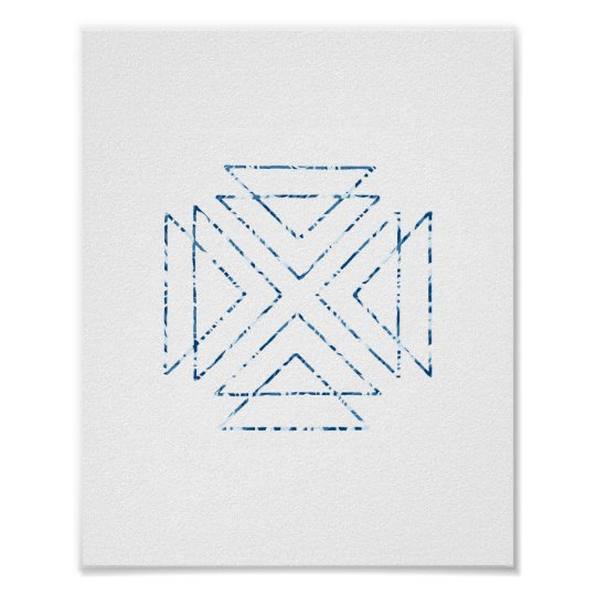 Blue Tribal Triangles Modern Wall Art