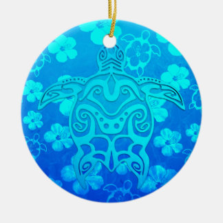 Blue Tribal Turtle Christmas Ornament