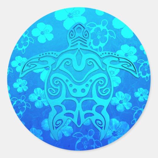 c2cafd844 Blue Tribal Turtle Classic Round Sticker   Zazzle.co.uk