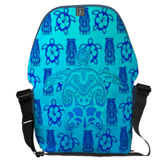 Blue Tribal Turtle Messenger Bag