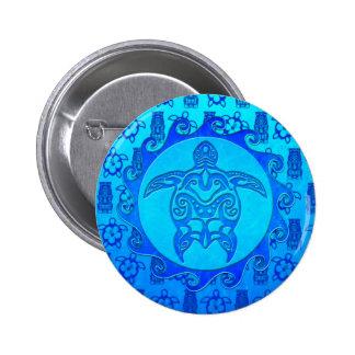 Blue Tribal Turtle Sun 6 Cm Round Badge
