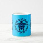 Blue Tribal Turtle Sun Basic White Mug