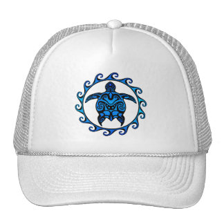 Blue Tribal Turtle Sun Cap