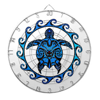 Blue Tribal Turtle Sun Dartboard