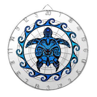 Blue Tribal Turtle Sun Dartboard