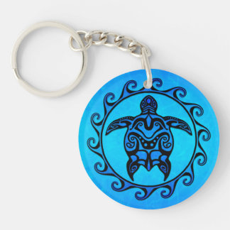 Blue Tribal Turtle Sun Key Ring