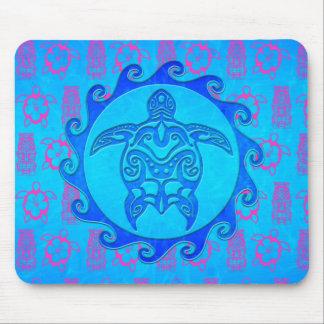 Blue Tribal Turtle Sun Mousepad
