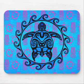 Blue Tribal Turtle Sun Mouse Pads