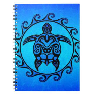 Blue Tribal Turtle Sun Notebooks